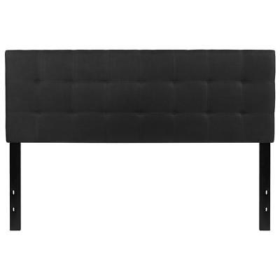 Tufted Upholstered Queen Size Headboard in Black Fabric