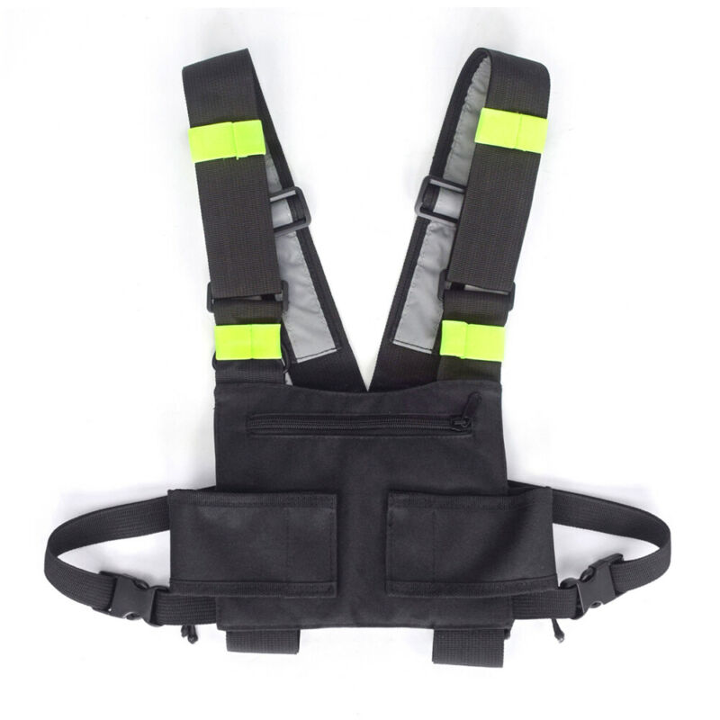 2-Way Radio Chest Harness Rig Vest Front Pack Pouch Walkie Talkie Holster Holder