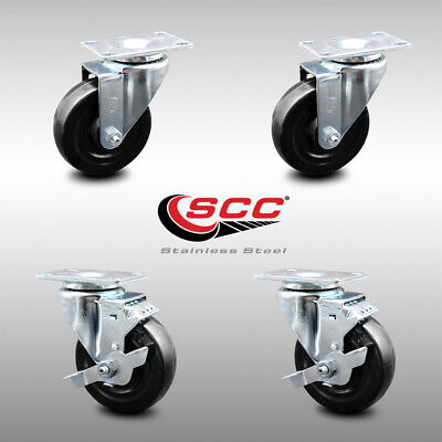 Ss Hard Rubber Swivel Caster Set Of 4 W4 Wheels - 2 Wbrakes