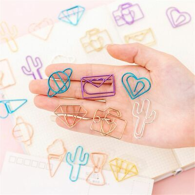 10pcs Cute Cactus Bowknot Paper Clips Colorful Star Heart Shape Binder Clips