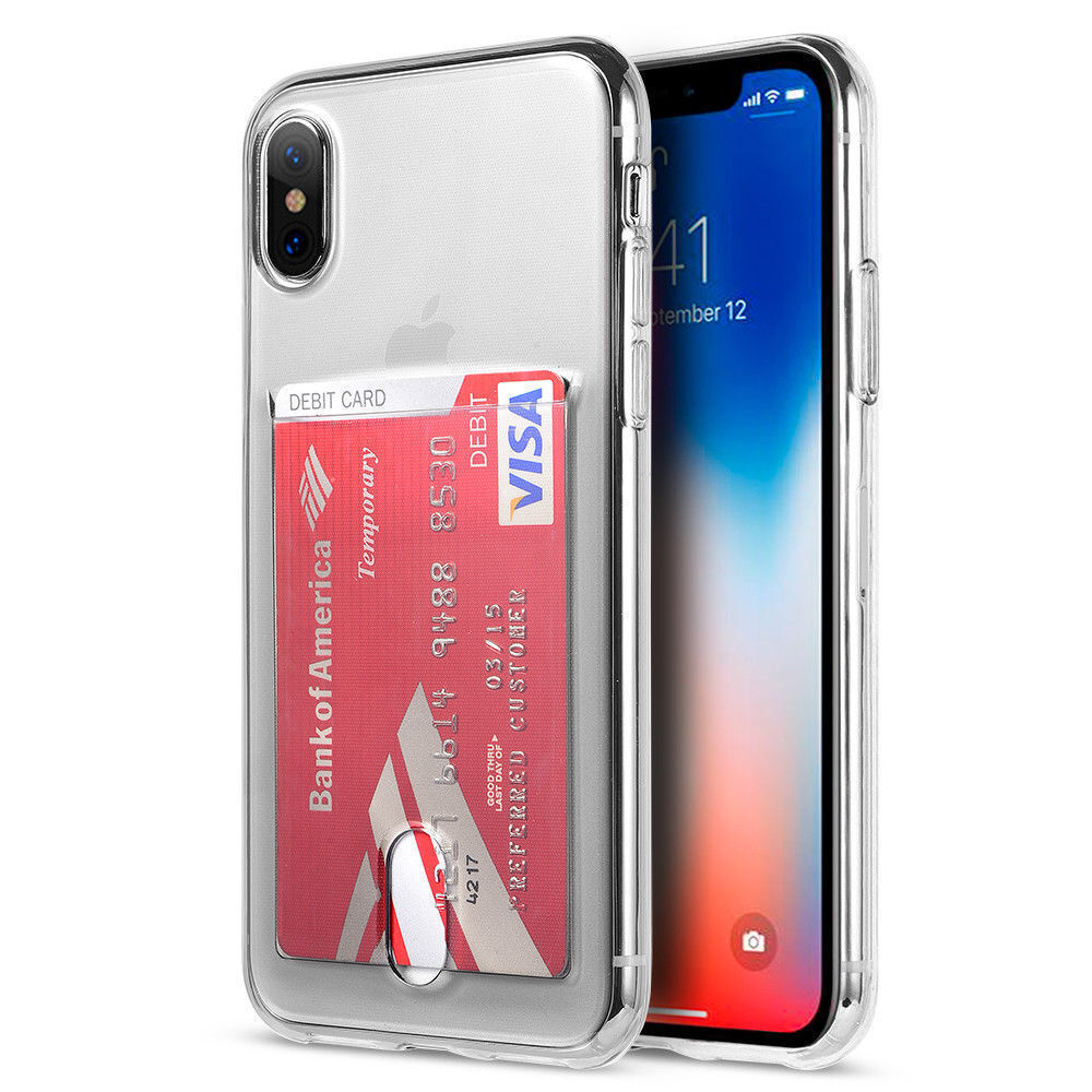 Transparent Credit Card Holder Soft Case Cover For iPhone XS Max XR X 8 6 7 Plus