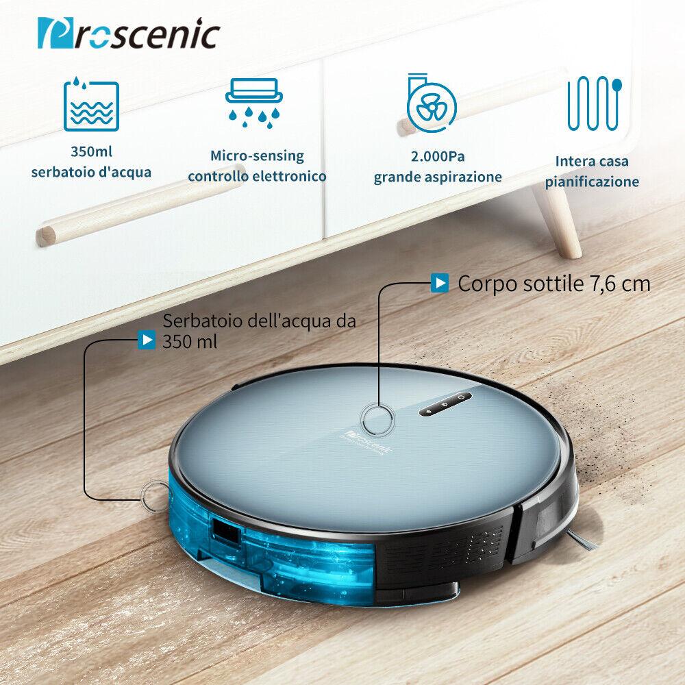 Proscenic 830P Alexa Robot Aspirapolvere Lavapavimenti Peli Degli Animali Mocio