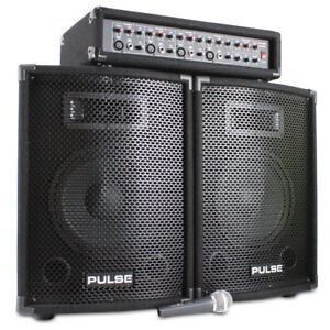 Pulse DP3187515 10 Inch Active PA Mixer Amplifier Speaker System 200W
