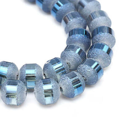 Frosted Glass Beads Textured Light Blue Tone 1 Strand Approx 72 Beads - BD1465