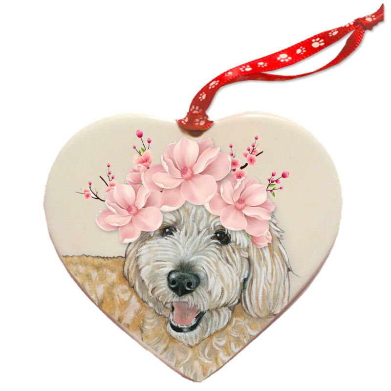 Goldendoodle Labradoodle Dog Porcelain Floral Heart Shaped Ornament Décor Pet Gi