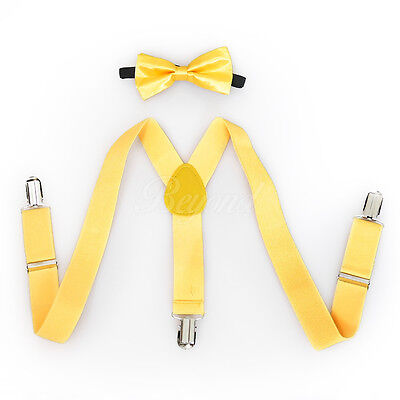 Yellow Suspender and Bow Tie Set for Baby Toddler Kids Girls Boys (USA Seller) - Yellow Bow Tie And Suspenders