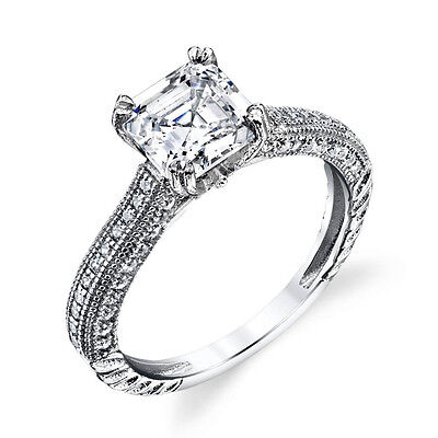 Asscher Cubic Zirconia Ring - Asscher Cut CZ Sterling Silver Bridal CZ Engagement Wedding Ring Cubic Zirconia