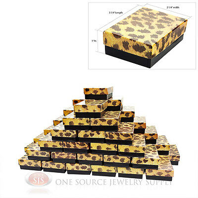 50 Leopard Print Cotton Filled Jewelry Gift Boxes 3 14 X 2 14