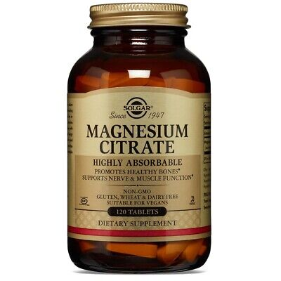 Solgar Magnesium Citrate - 120 Tablets FRESH, FREE SHIPPING, MADE IN USA