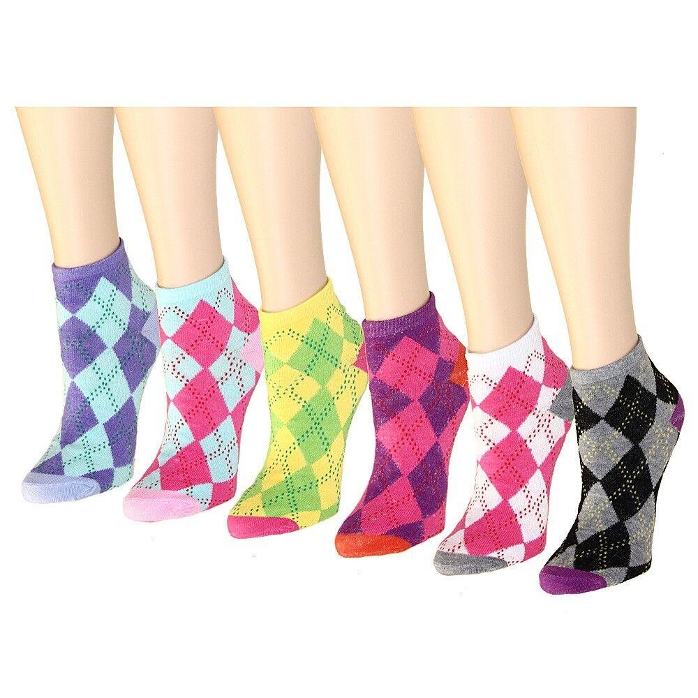 New 12 Pairs Womens Argyle Diamond Ankle Quarter Socks