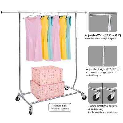 Nex Detachable Adjustable Rolling Clothes Rack Garment Organizer Large Capacity