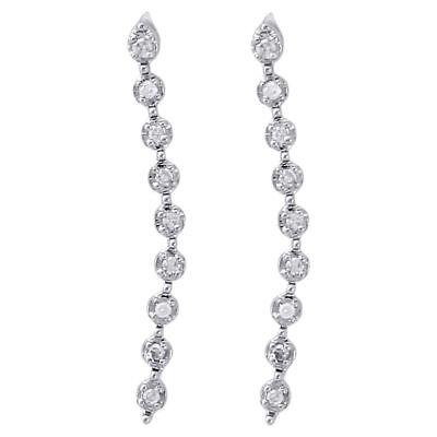 10K White Gold Diamond Dangler Fanuk Set 0.74