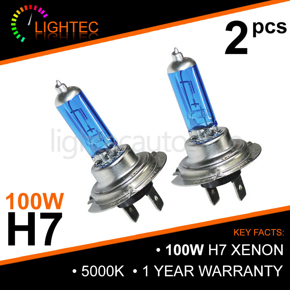 2x H7 Car Xenon Headlight Bulbs 100w 12v White To Fit Audi A3 8PA 2.0 TDI