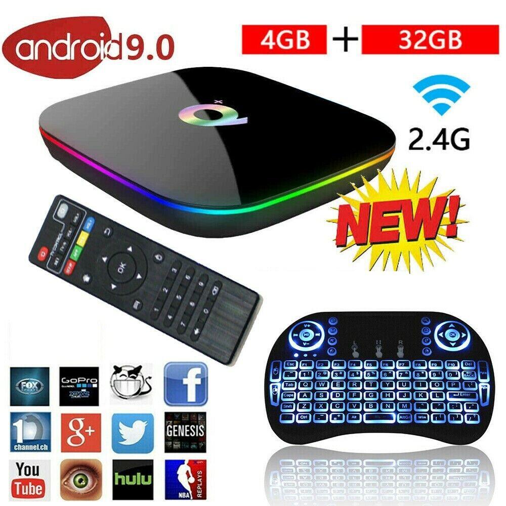 2020 Q-Box Plus Quad Core TV Box 16G/32G/64G Android 9.0 Smart Media Player IPTV
