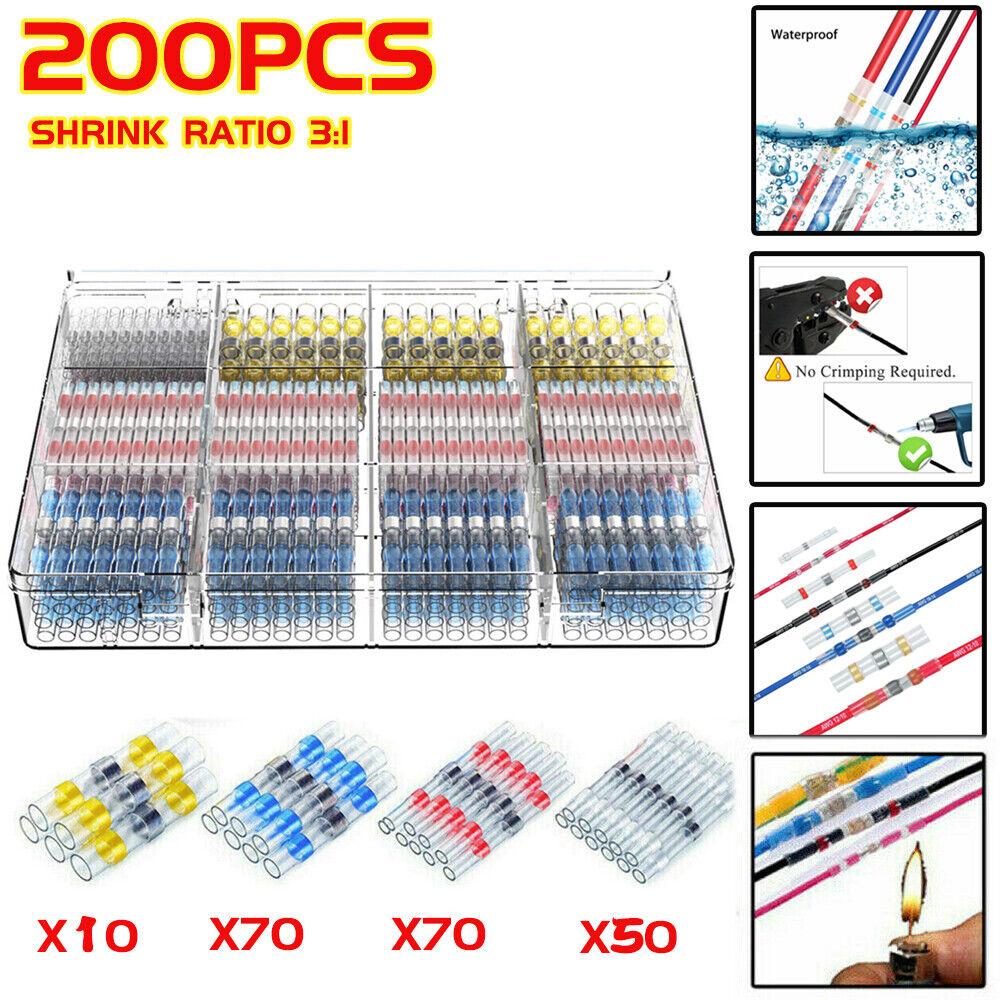 200Pcs Waterproof Solder Seal Sleeve /& Electrical Heat Shrink Butt Connector Set