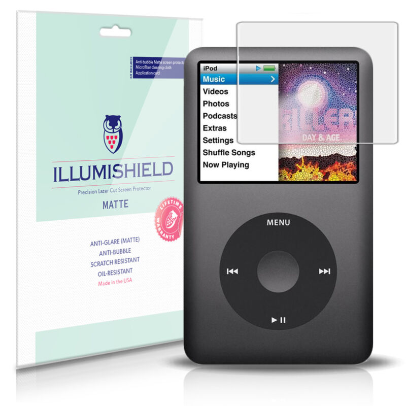 iLLumiShield Matte Screen Protector w Anti-Glare/Print 3x for Apple iPod Classic