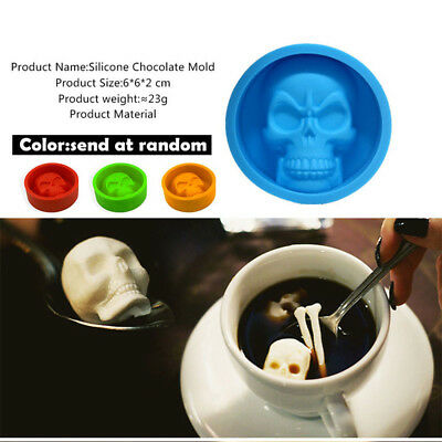 Skull Mold Pop Halloween 3DSkull Silicone Mold Chocolate Cake Making Baking Mold