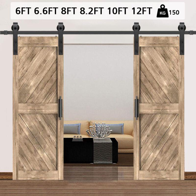 6FT Aluminum Sliding Barn Door Track Kit Roller Heavy Wood Door Closet Hardware