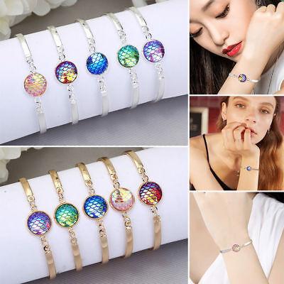 Fashion 3 Layer Mermaid Multicolor Fish Scale Bracelet Bangle Wristband Jewelry