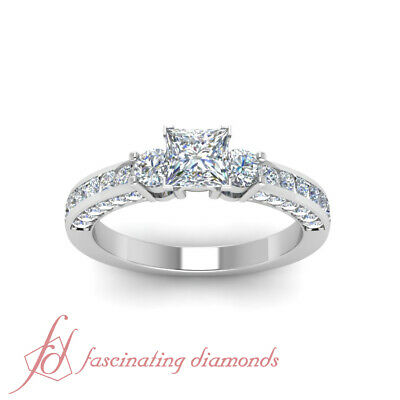 Engagement Ring Channel Set 1.40 Ct Princess Cut Untreated Diamond GIA Certified 1