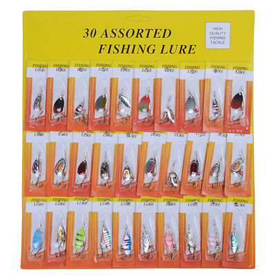 Lot 30 pcs Kinds of Fishing Lures Crankbaits Hooks Minnow Baits Tackle color