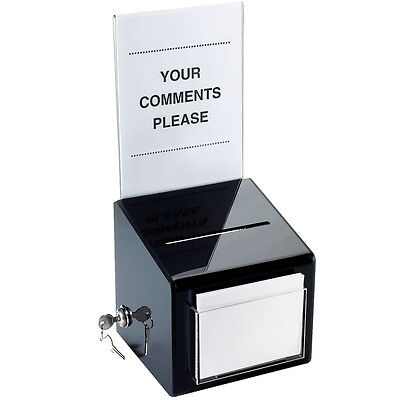 Cal-mil 390 Suggestion Box With Lock Black Countertop Model - New In Box