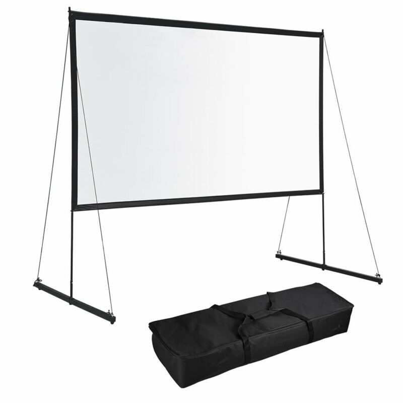 """150"""" Portable Detachable Projector Screen with Stand Movie Projection 16:9 HD"""