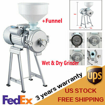 New Electric Feed Mill Wetdry Cereals Grinder Rice Corn Grain Coffee Wheat 110v