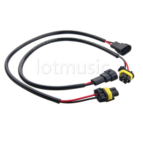 2 9005 wire wiring harness xenon light headlight extension socket adapter
