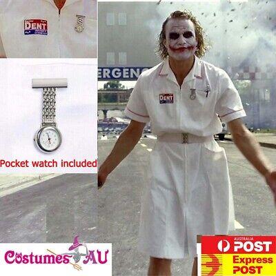 Scary Joker Costume (Mens Twisted Joker Costume Batman Nurse Scary Zombie Halloween Party Fancy)