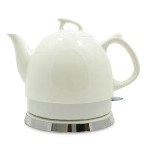 MODERN DESIGN White Ceramic Electric Cordless Kettle Tea Pot  SAME DAY DISPATCH