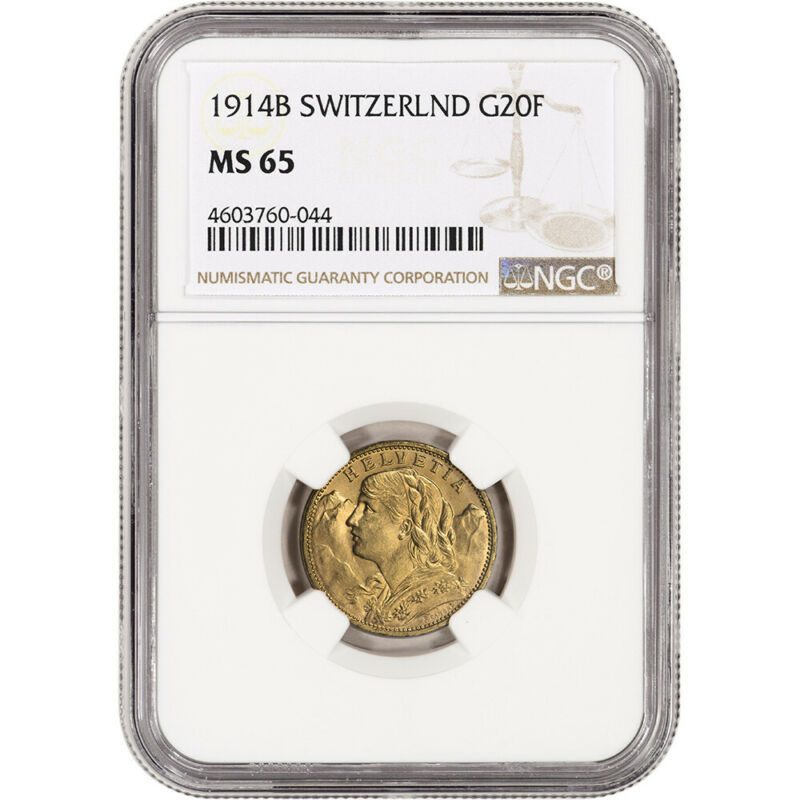 1914 B Switzerland Gold 20 Francs - NGC MS65