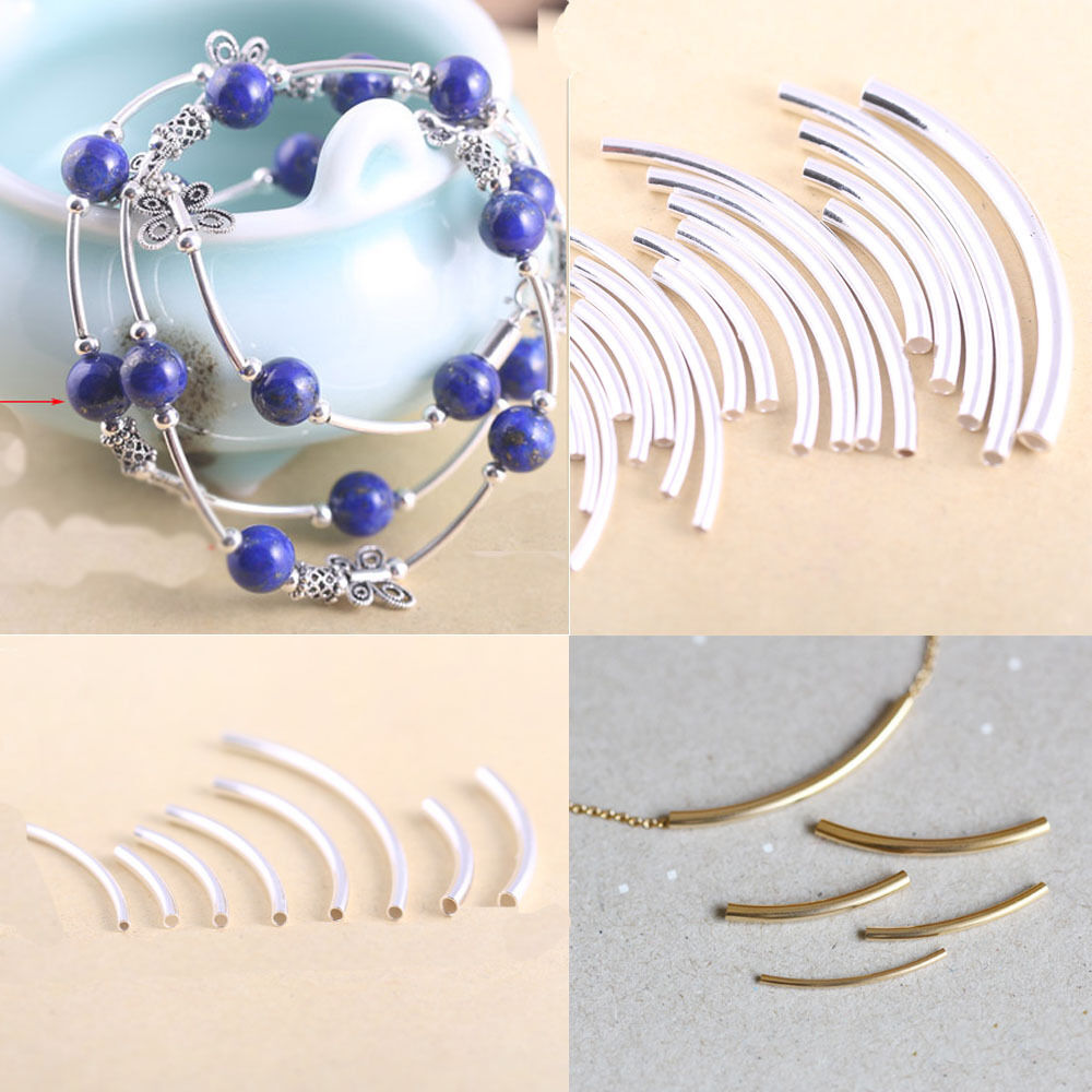 Lots curved tube silver gold plated elbow noodle
