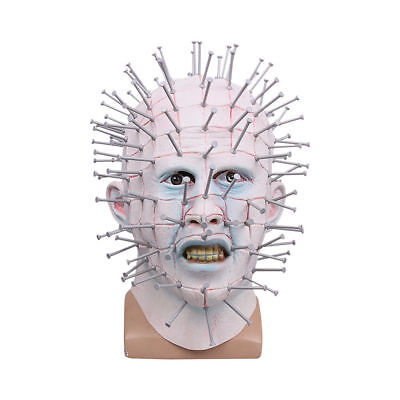 Pinhead Halloween Mask (Cosplay Hellraiser Pinhead Mask Halloween Horror Ghost Scary Helmet Party)