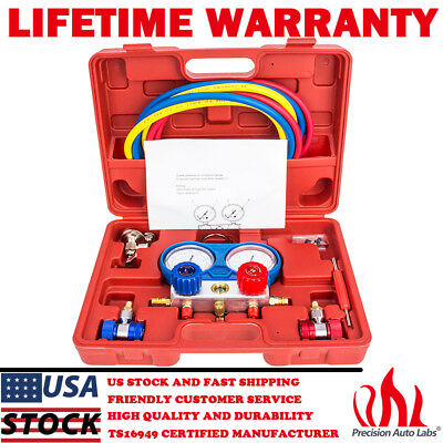 Ac Manifold Gauge Set R410a R22 R134a Whoses Coupler Adapters Refrigeration Kit