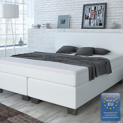 Designer Boxspringbett Bett Hotelbett Doppelbett Kunstleder Weiss 180x200 cm