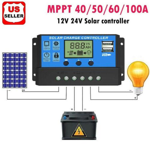 MPPT Solar Panel Regulator Charge Controller Auto Focus Tracking 30-100A 12V/24V Alternative Energy Supplies
