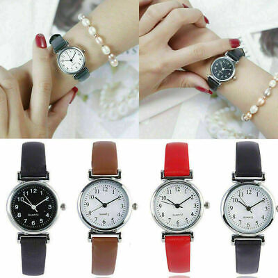 Luxury Women's Leather Strap Watches Quartz Analog Round Dial Wrist Dress Watch