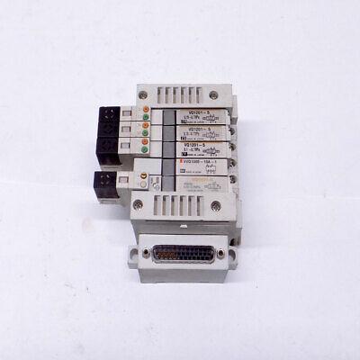 Lot Of 5 Smc Vq1201-5 Vvq1000-10a-1 Vq1101-5 Solenoid Valves W Smc Manifold