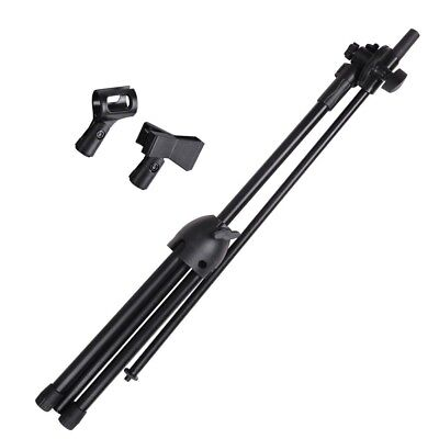 Dual Mic Clip Microphone Boom Stand Folding Arm Tripod Height Adjust Holder