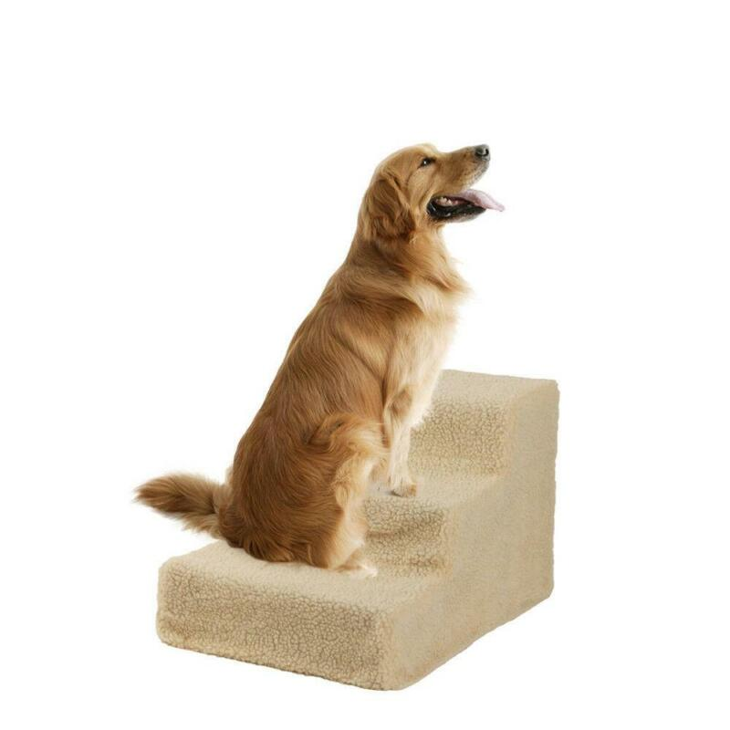 Pet Stairs Cat Dog 3 Steps Laddar Step Ramps Climb For Home Paly Indoor Beige