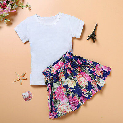 Baby Kids Girl Floral Dress Short Sleeve Top T-Shirt+Skirt Outfits Set Clothes