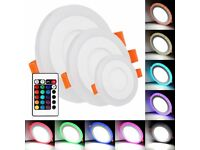 LED 3 Mode RGB Panel Light Colour Changing With Remote Recessed Circular Panel