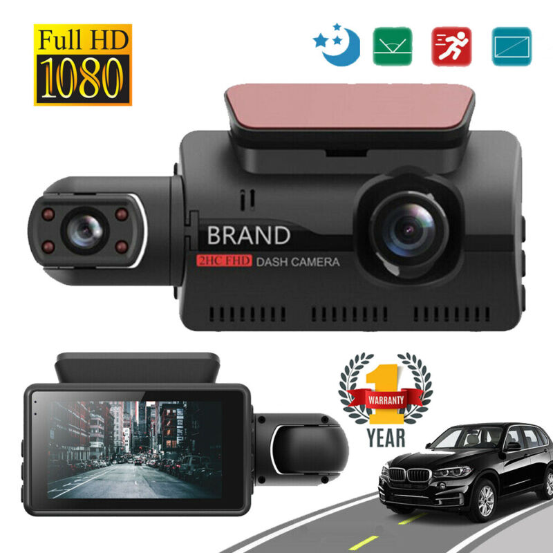 "3"" HD 1080P Dual Lens Dash Cam Car DVR Front & Inside Camera Video Night Vision"