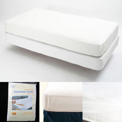 Waterproof Fitted Mattress Protector - Twin Size Fitted Mattress Cover Vinyl Waterproof  Allergy Dust Bug Protector New