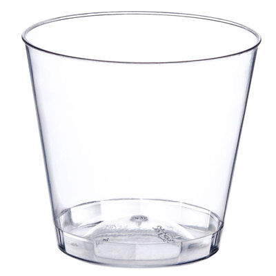 Bulk Glass Cups (Clear 1 oz. Shot Glasses Hard Plastic Disposable Cups for Bar & Catering)