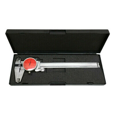 Red Face 0-6 Stainless Steel 4 Way Dial Caliper Shock Proof 0.001 Graduation