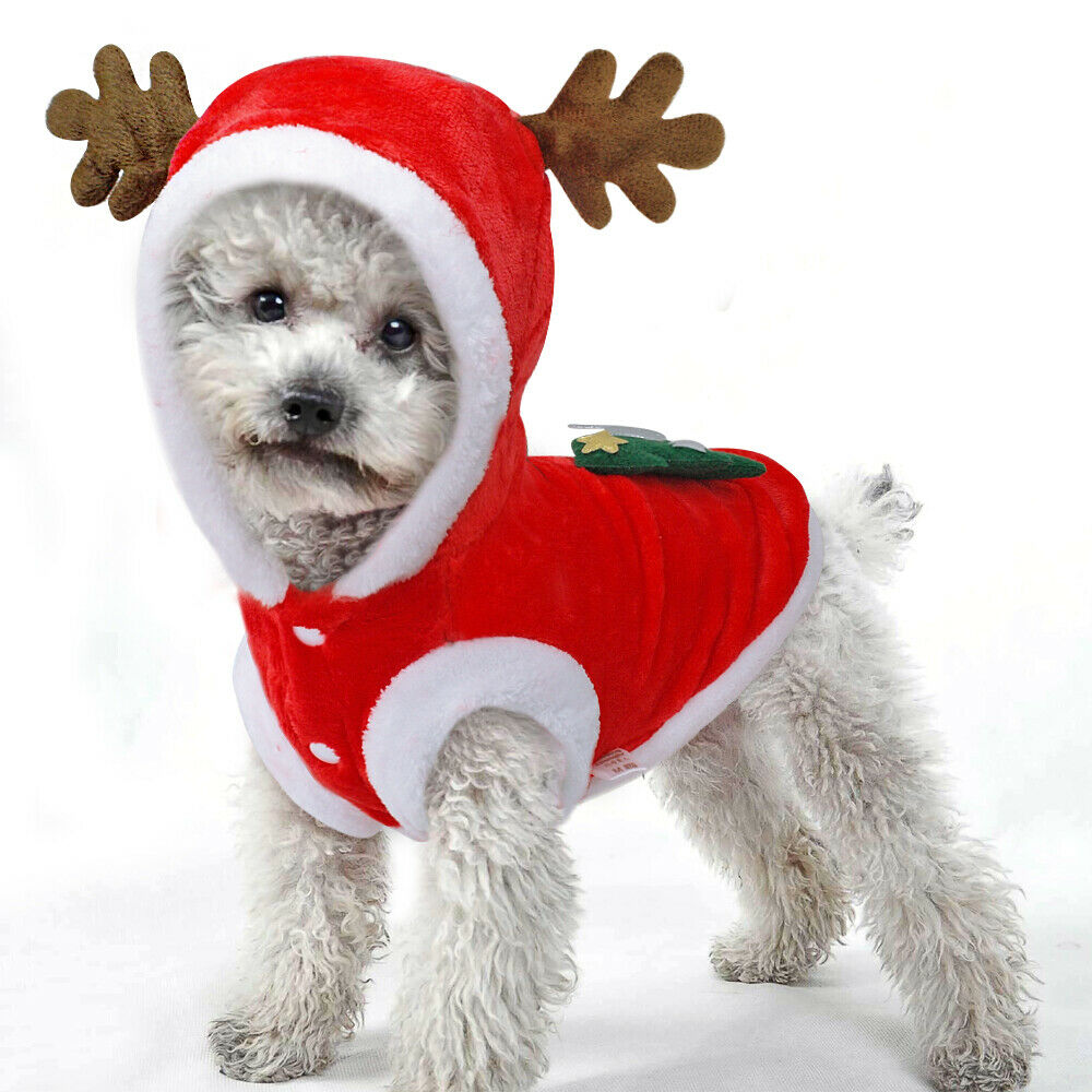 Christmas Dog Costumes.Details About Red Fleece Warm Christmas Tree Elk Dog Clothes Small Puppy Kitten Winter Costume
