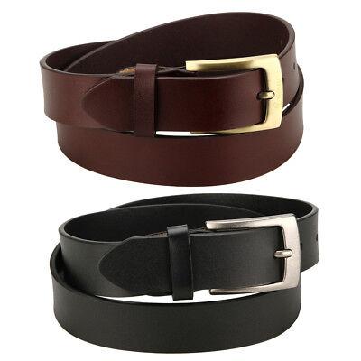 "Leather Jean Casual Belt - YOOMALL Men's Leather Belt Slim 1 1/8"" Casual Jean Dakota Signature Buckle New"