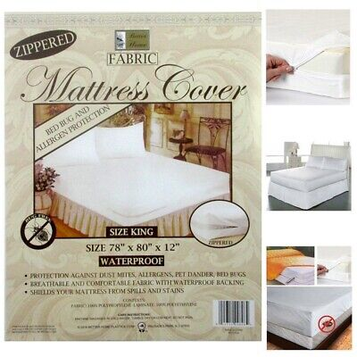 King Size Fabric Zippered Mattress Cover Waterproof Bed Bug Dust Mite Protector Bed Bug Mattress Protector
